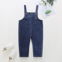 Toddler Girls Pocket Front Denim Overall