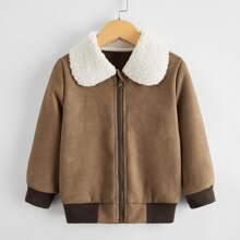 Toddler Boys Suede Contrast Teddy Collar Jacket