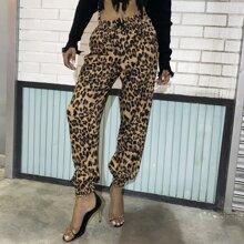Pantalones Bolsillo Leopardo Casual