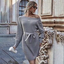 Raglan Sleeve Belted Sweater Dress