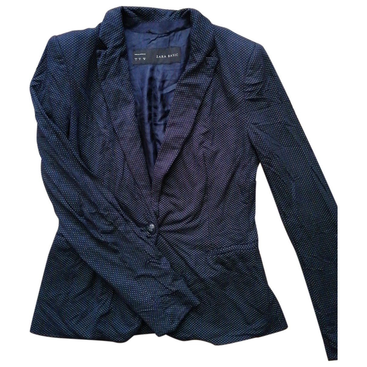 Zara - Veste   pour femme en coton - marine