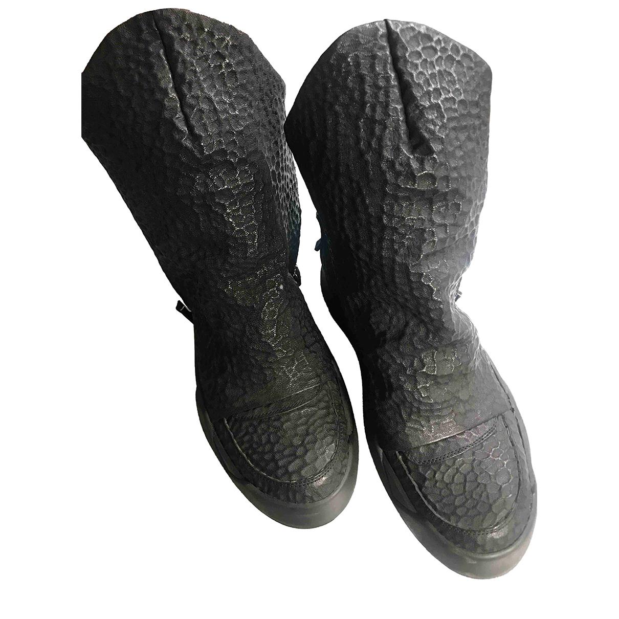 Autre Marque \N Stiefel in  Schwarz Leder