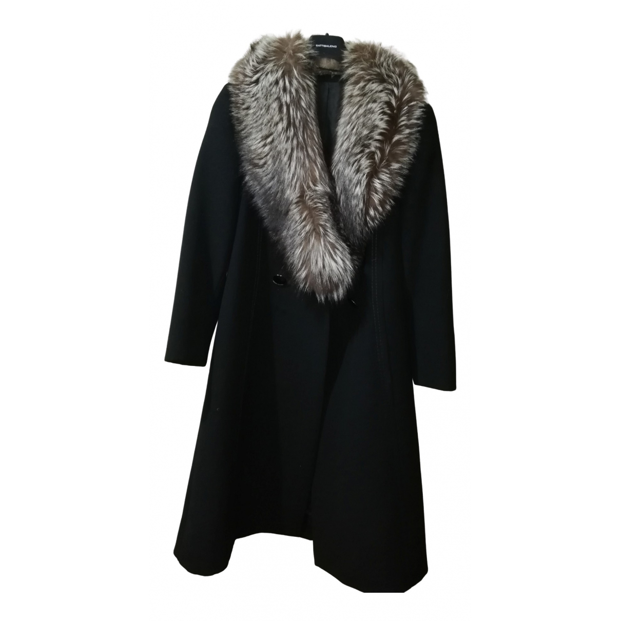 Non Signé / Unsigned Hippie Chic Black Wool coat for Women 38 FR