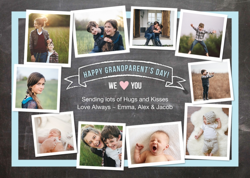Grandparents 5x7 Folded Cards, Standard Cardstock 85lb, Card & Stationery -Grandparent's Circle of Photos Banner