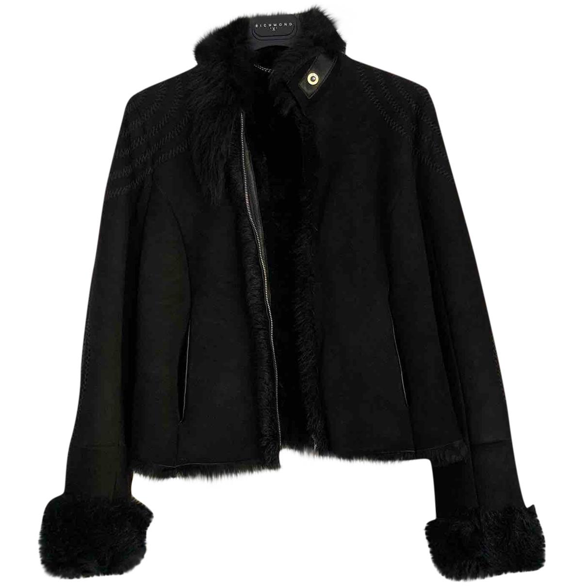 John Richmond - Manteau   pour femme en fourrure - noir