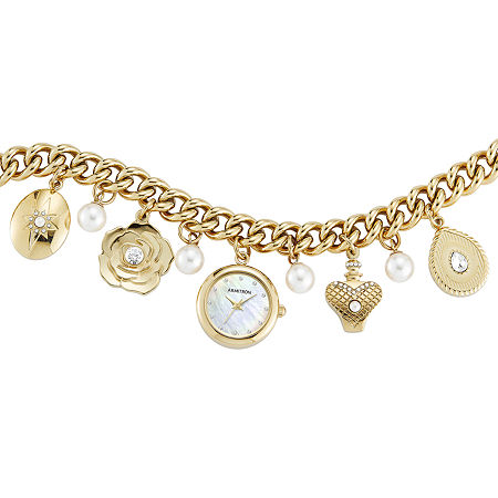 Armitron Womens Crystal Accent Gold Tone Bracelet Watch-75/5684mpgp, One Size , No Color Family