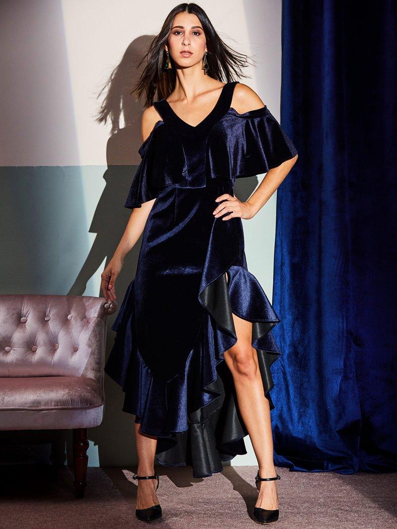 Ericdress Velvet Ruffles Backless Patchwork Asymmetrical Maxi Dress