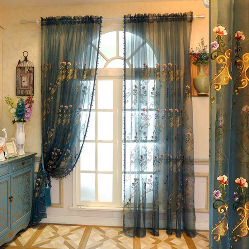 Elegant Embroidered Flowers Decorative Custom Semi Sheer Curtains for Living Room