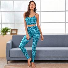 Sports BH mit Leopard Muster und Schmale Leggings mit hoher Taille