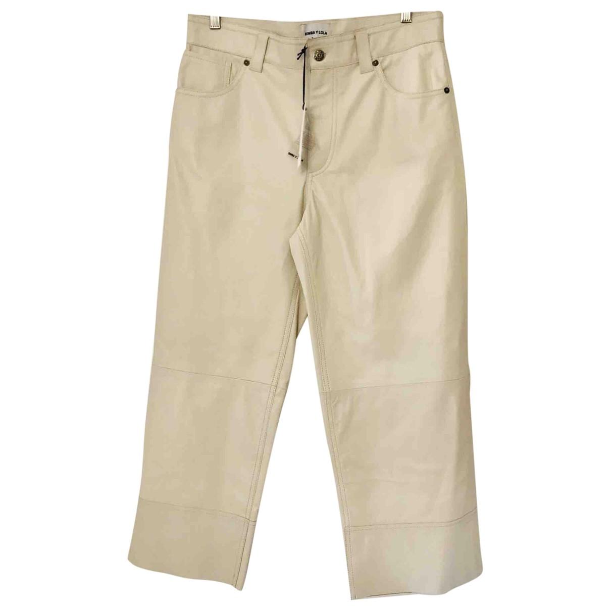 Bimba Y Lola \N Beige Leather Trousers for Women M International