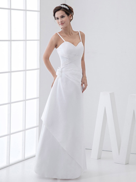 Milanoo White Ruched A-Line Straps Taffeta Wedding Gown