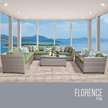 FLORENCE-10a-CILANTRO Florence 10 Piece Outdoor Wicker Patio Furniture Set 10a with 2 Covers: Grey and