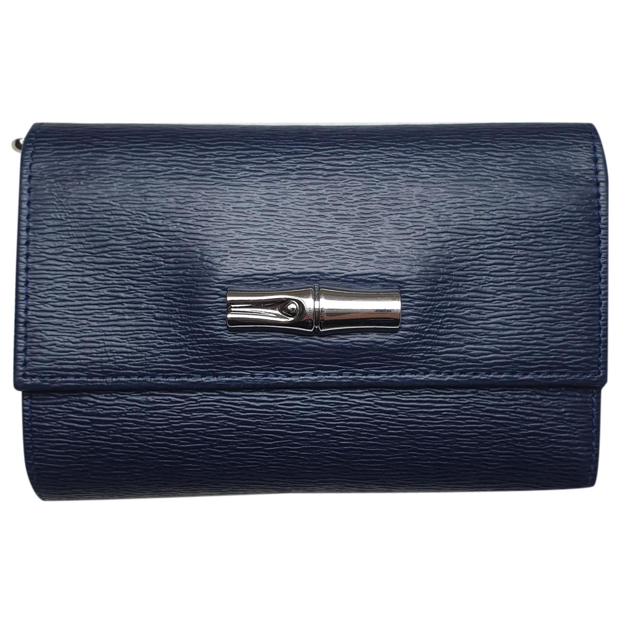 Longchamp - Portefeuille Roseau pour femme en cuir - bleu