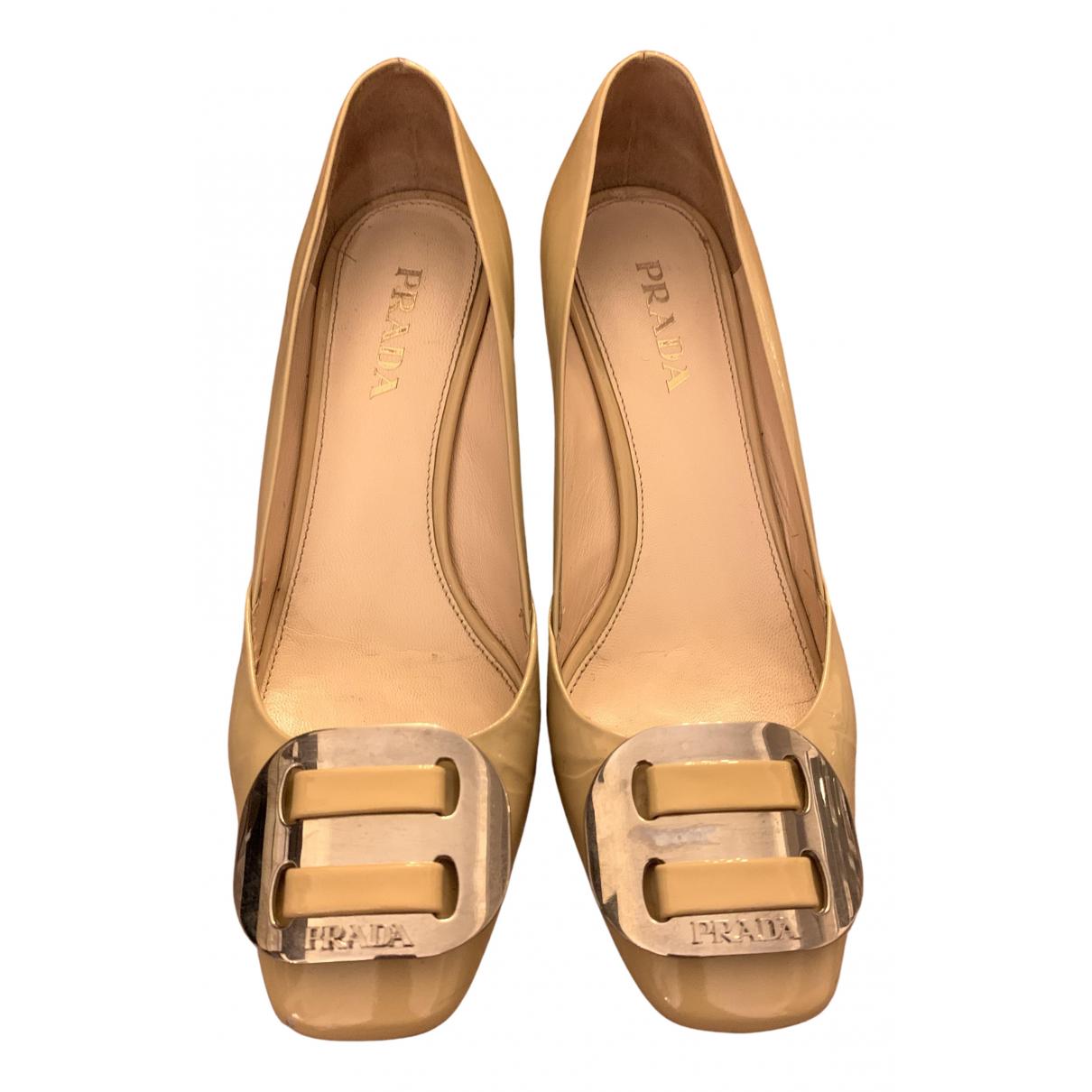 Prada N Beige Patent leather Heels for Women 36 EU