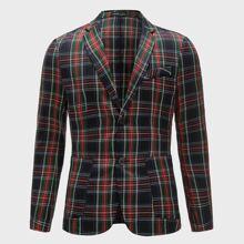 Blazer mit eingekerbtem Kragen, Taschen Flicken und Karo Muster