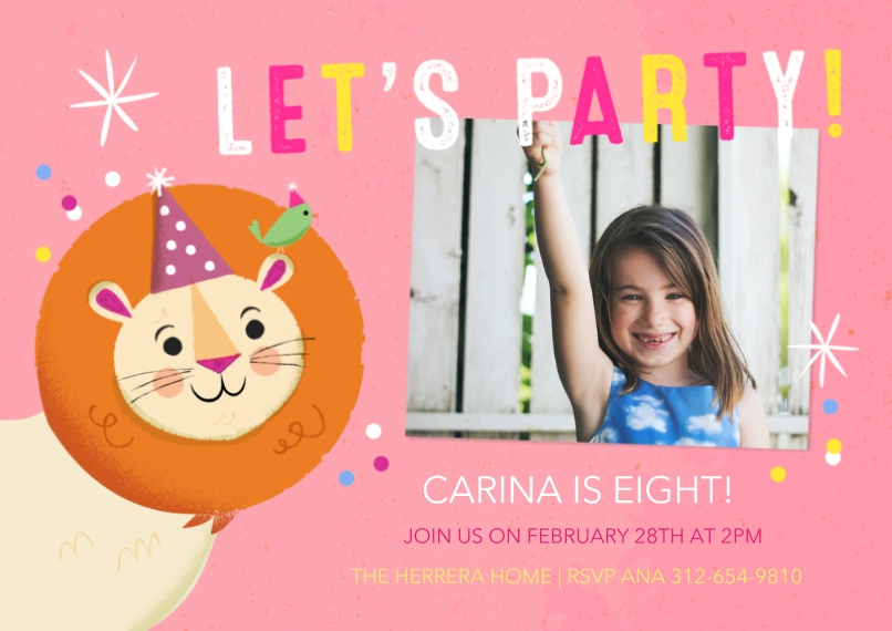 Kids Birthday Party Invites 5x7 Cards, Standard Cardstock 85lb, Card & Stationery -Party Lion Pink