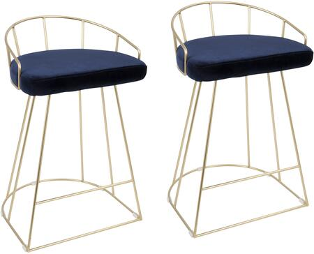 Canary Collection B26-CNRYAUBU2 Set of 2 Counter Height Stools with Sled Base  Low Curved Backrest  Footrest Support  Contemporary-Glam Style