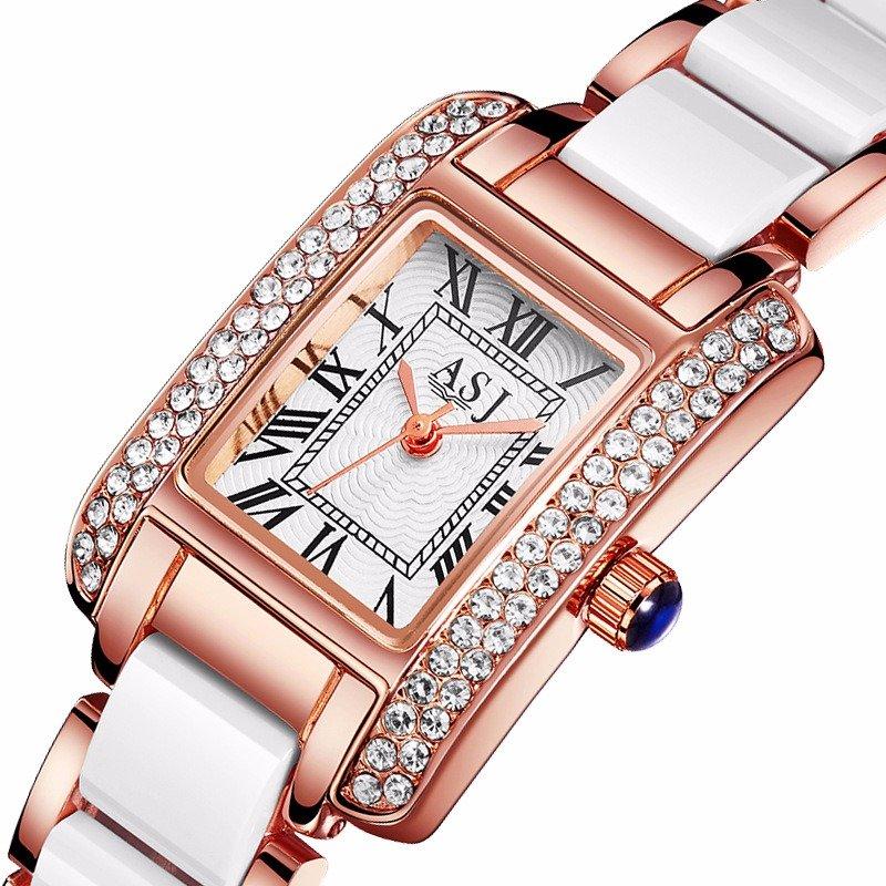 Trendy Square Diamond Quartz Watch Waterproof Chain Bracelet Watch For Women