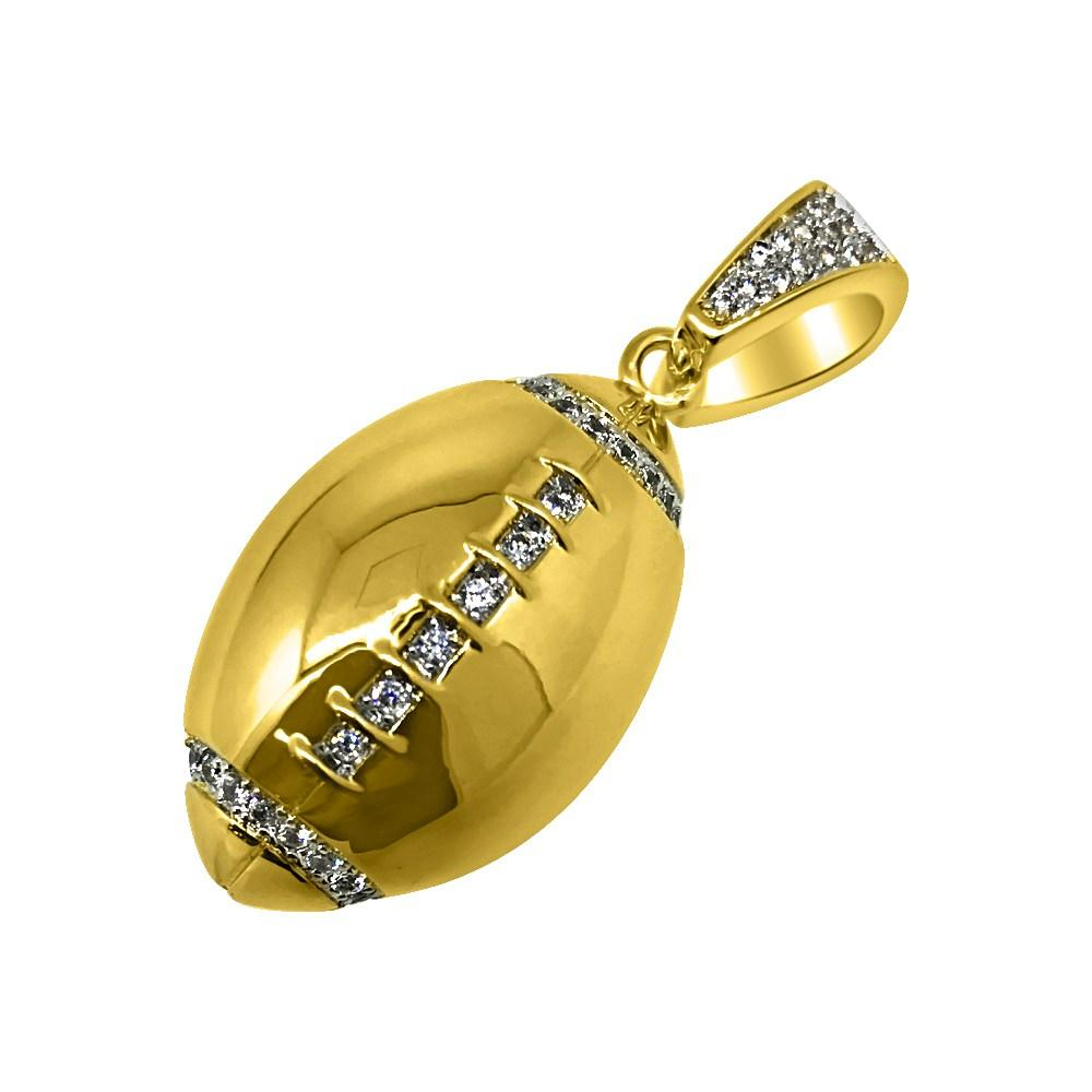 Gold Football CZ Rounded Polished Pendant