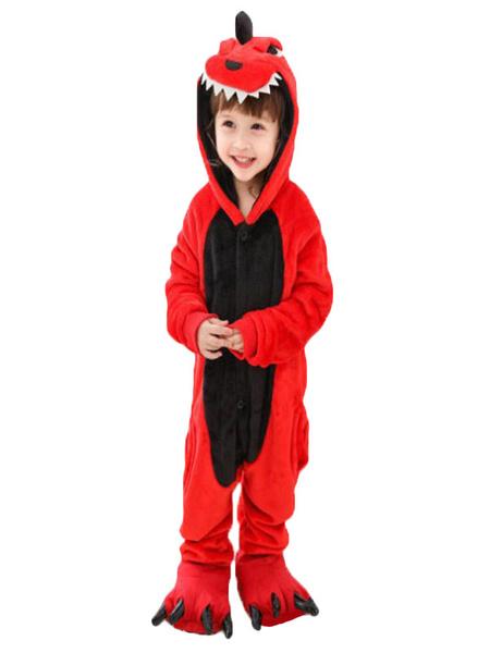 Milanoo Onesie Kigurumi Pajamas Red Dinosaur Kids Flannel Easy Toilet Winter Sleepwear Mascot Animal Halloween Costume