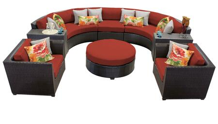 Barbados BARBADOS-08e-TERRACOTTA 8-Piece Wicker Patio Set 08e with 3PC Curved Sectional  1 Ottoman  2 Club Chairs and 2 Cup Tables - Wheat and