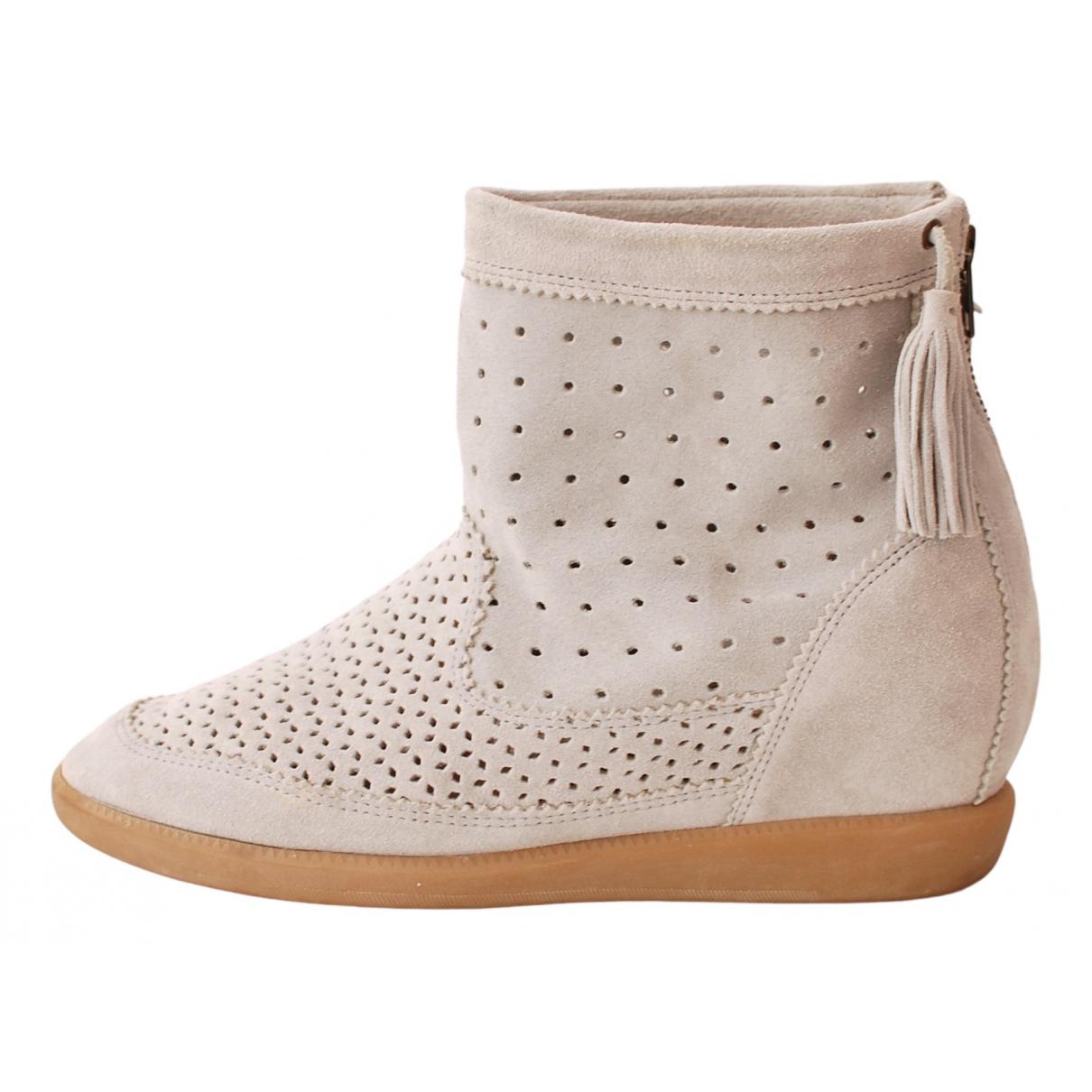 Isabel Marant - Boots Basley pour femme en suede - gris