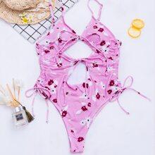 Einteiliger Badeanzug mit Blumen Muster, Ausschnitt und Knoten