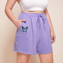 Plus Butterfly Print Tie Front Shorts