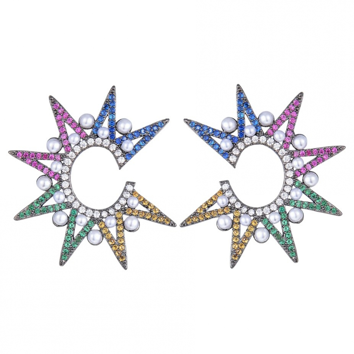 Non Signé / Unsigned Motifs Etoiles Black Metal Earrings for Women \N