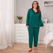 Conjunto de pijama top ribete con encaje con pantalones