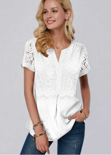 Short Sleeve Lace Panel White Blouse - XL
