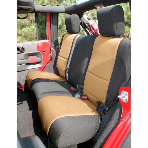 Rugged Ridge 13265.04 Seat Cover, Rear, Neoprene, Black/Tan; 07-18 Jeep Wrangler JK Jeep Wrangler 2007-2018