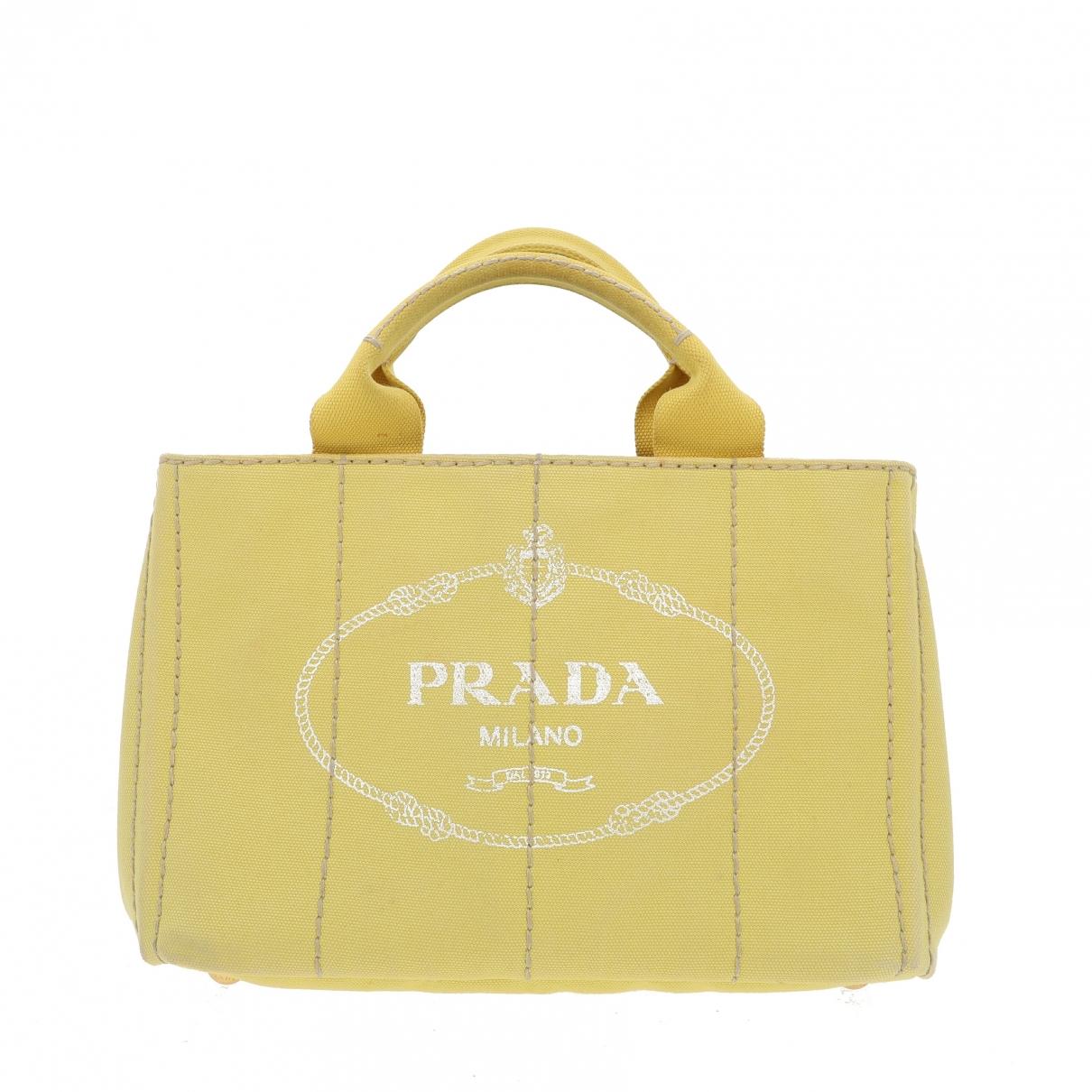 Prada - Sac a main   pour femme en toile - jaune