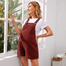 Maternity Roll Up Hem Overall Shorts