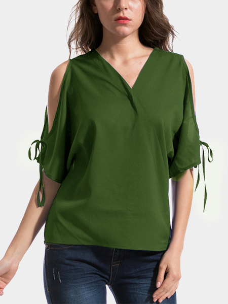 Yoins Army Green Bow-knot Cold Shoulder Half Sleeves Top