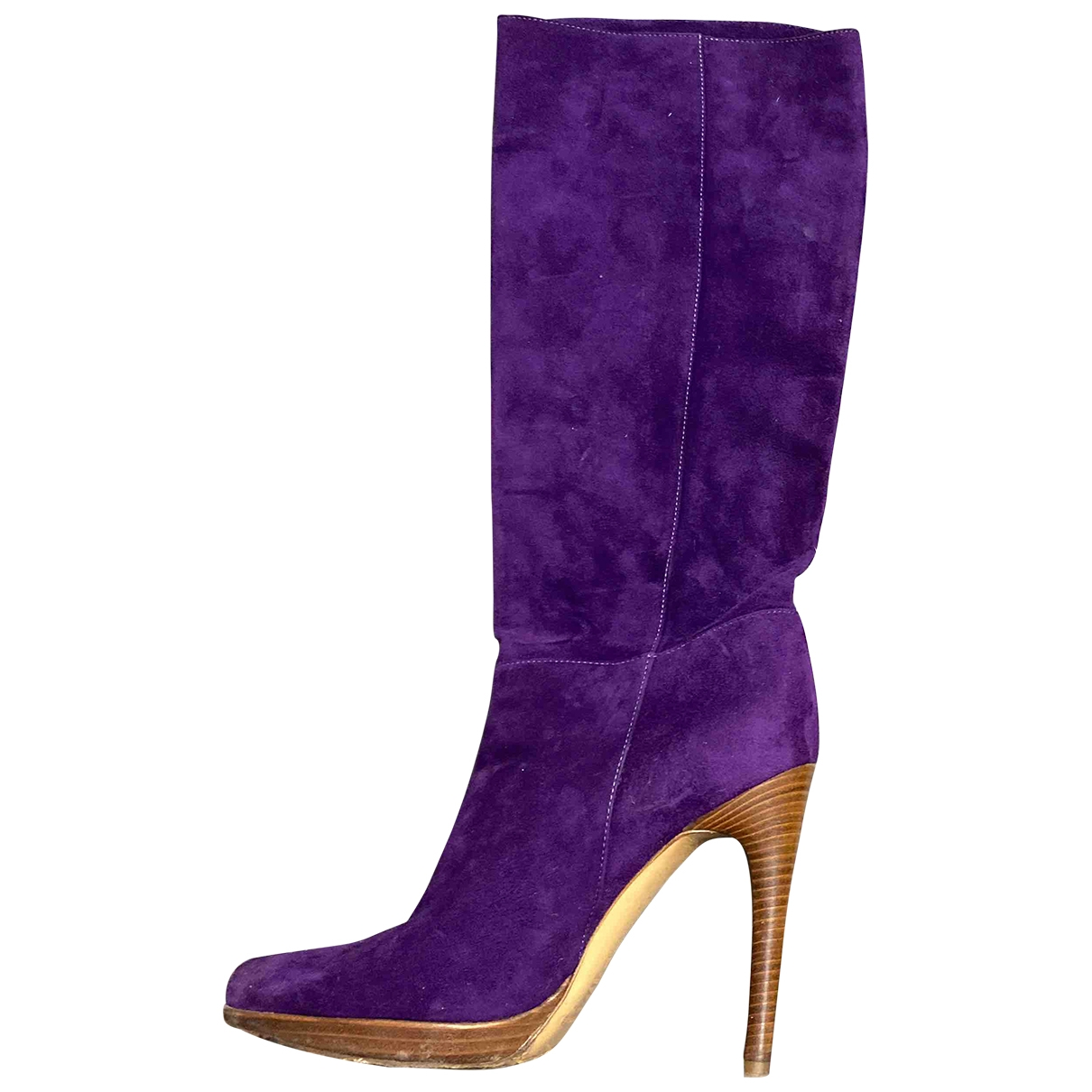 Casadei \N Purple Leather Boots for Women 36 EU