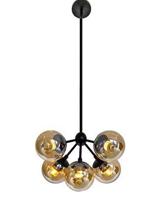 DU03-3 5-Light Ceiling Fixture with Steel and Glass Materials and 40 Watts in Amber