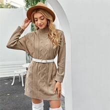 High Neck Drop Shoulder Sweater Dress Without Belt