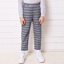 Boys Slant Pocket Plaid Pants
