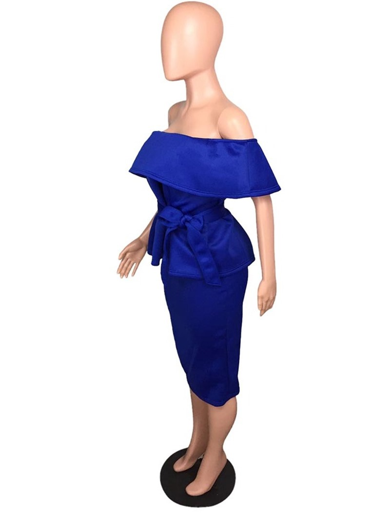 Ericdress Bowknot Office Lady Off Shoulder Bodycon Falbala T-Shirt And Skirt Two Piece Sets