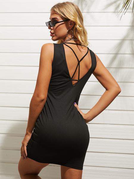 Yoins Backless Design Crew neck Sleeveless Mini Dress