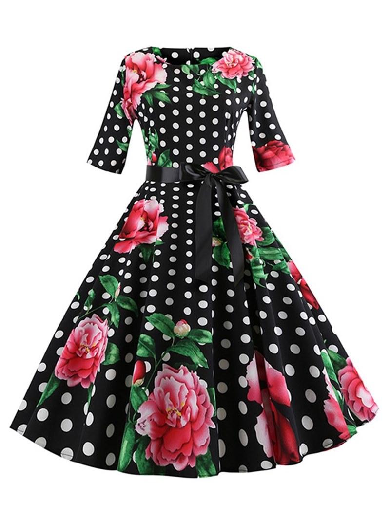 Ericdress A-Line Print Knee-Length Women's Dress