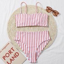 Bikini Badeanzug mit Streifen und Band hinten