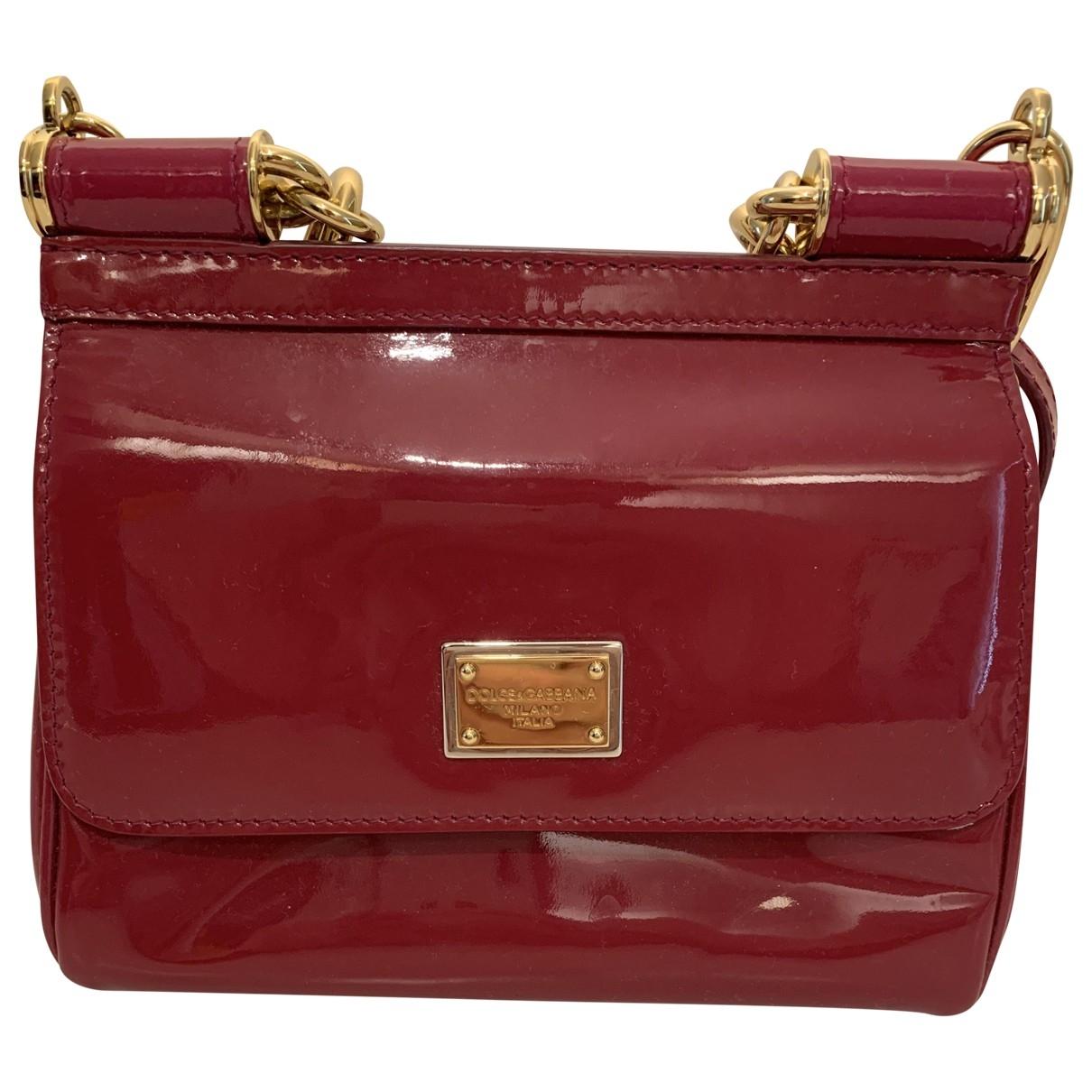 Dolce & Gabbana Sicily Handtasche in  Rosa Lackleder