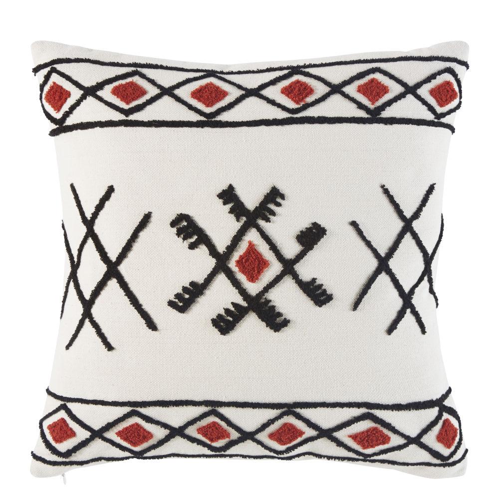 Berber-Kissen aus ecrufarbener Baumwolle mit gestickten, grafischen Motiven 45x45