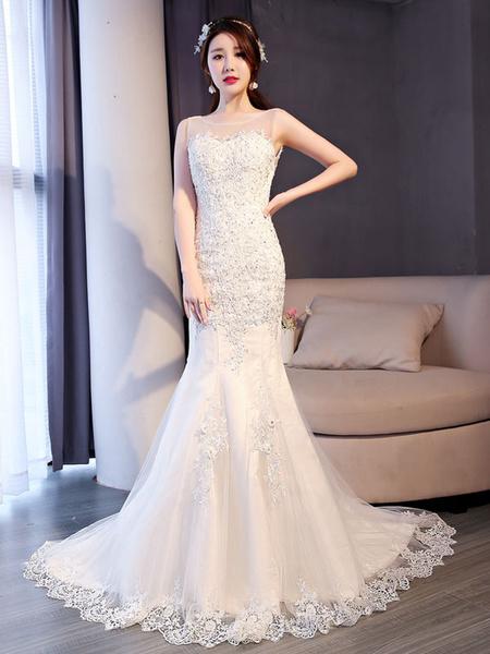 Milanoo Vestidos de novia de la sirena del cordon de marfil que rebordea el vestido nupcial sin mangas con el tren