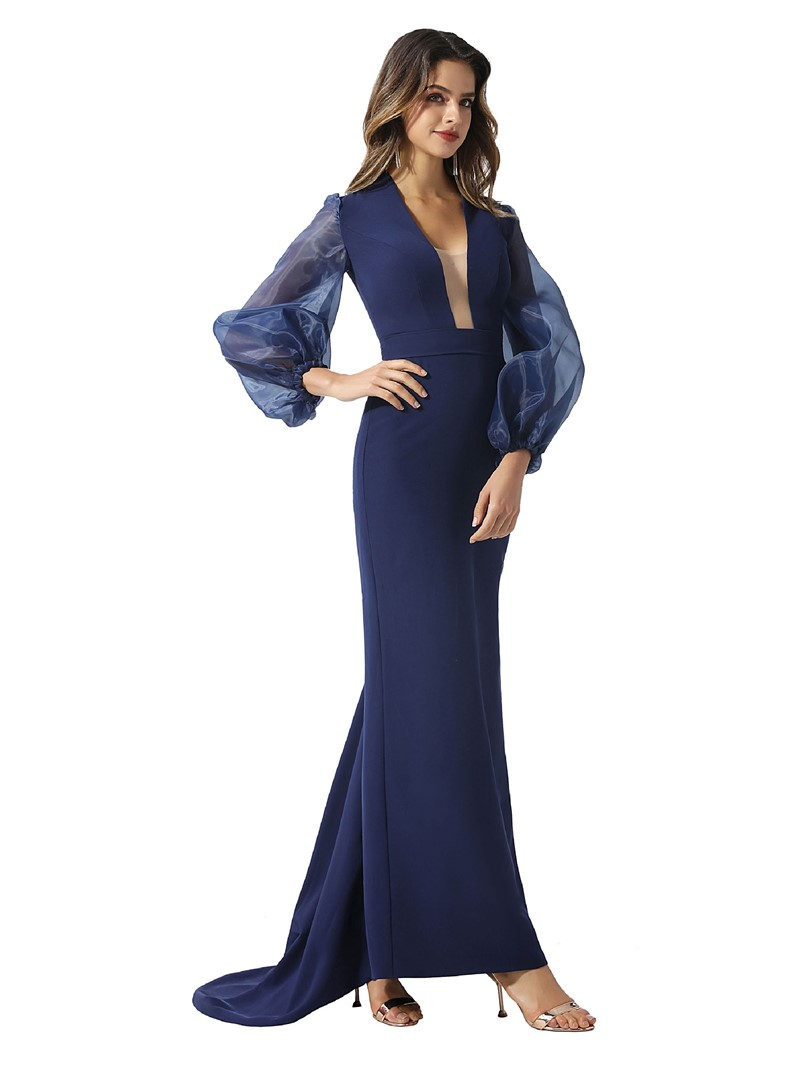 Ericdress Floor-Length Long Sleeves Sheath Evening Dress 2020