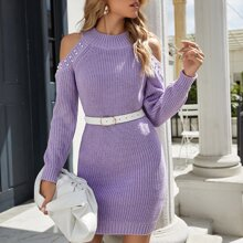 Pearls Beaded Cold Shoulder Sweater Dress Without Belt
