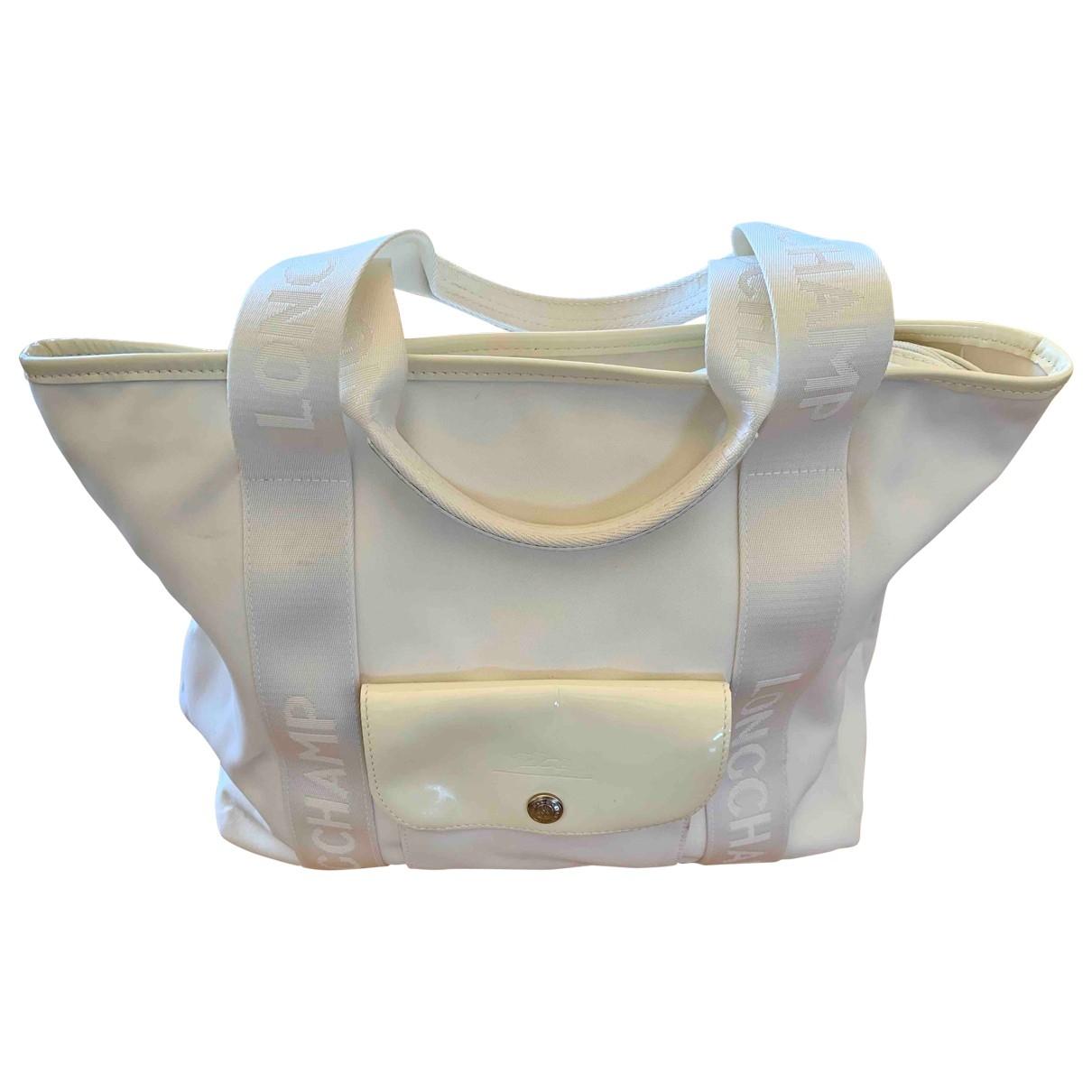 Longchamp - Sac a main   pour femme en toile - blanc