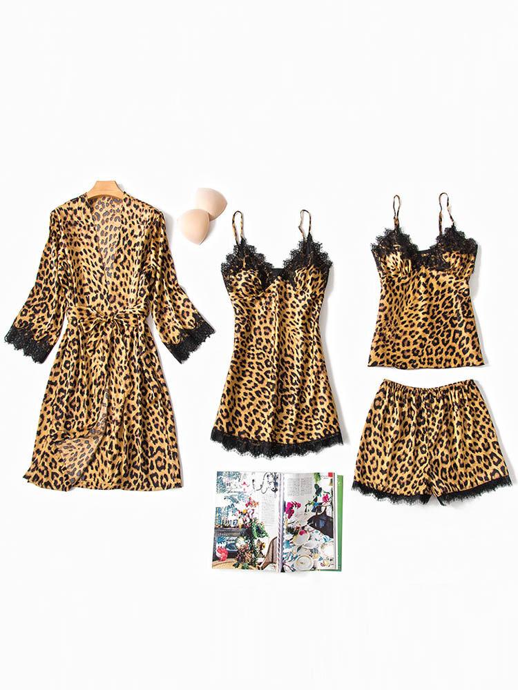 Sexy Silk Women Pajamas Leopard Lace Patchwork Four Pieces Home Sleepwear
